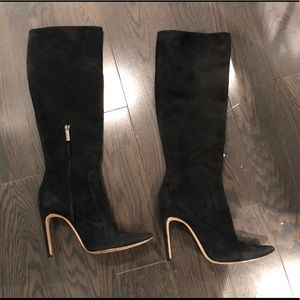 Herve Leger tall suede black boots shoes
